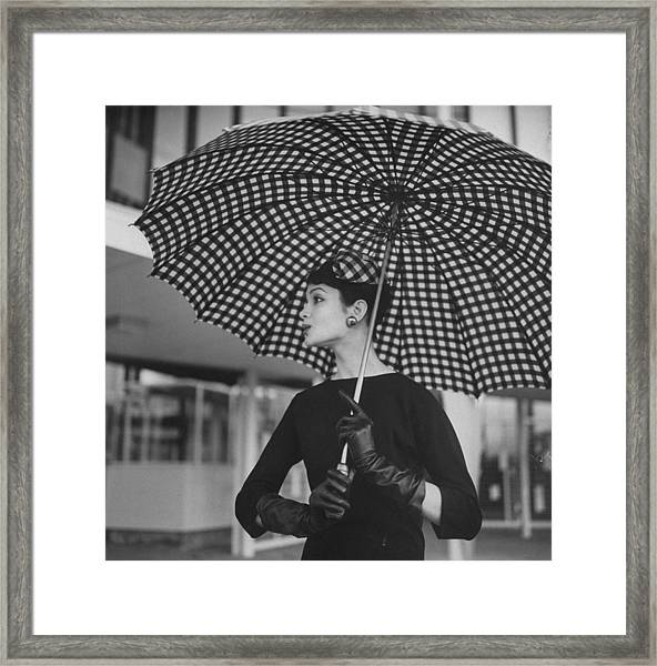Checked Parasol, Used At The Racetrack Framed Print