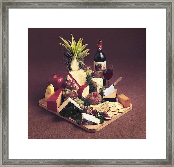 Cheese Tray With Wine Framed Print