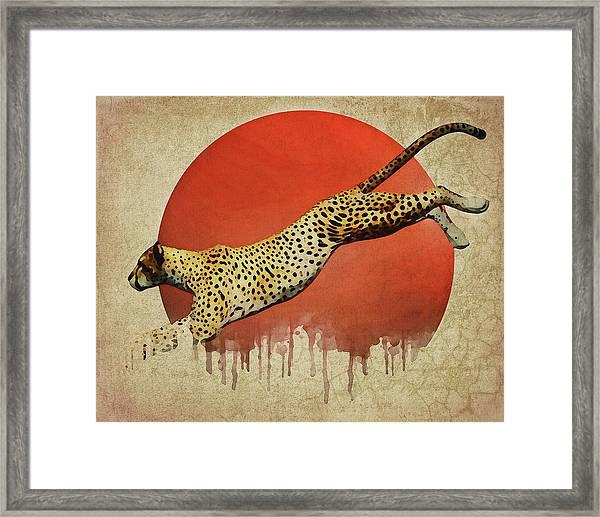 Framed Print featuring the digital art Cheetah On The Run by Jan Keteleer