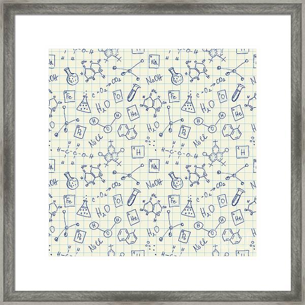 Chemistry Doodles Seamless Pattern Framed Print
