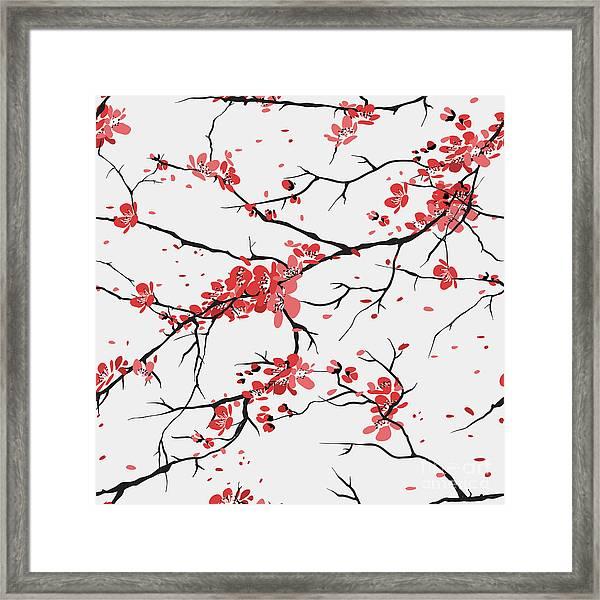 Cherry Or Sakura Seamless Pattern Framed Print by Sofiav