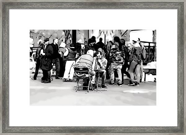 Chess Match Union Square  Framed Print