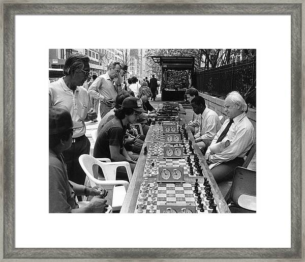 Chess Players On 42nd Street Framed Print