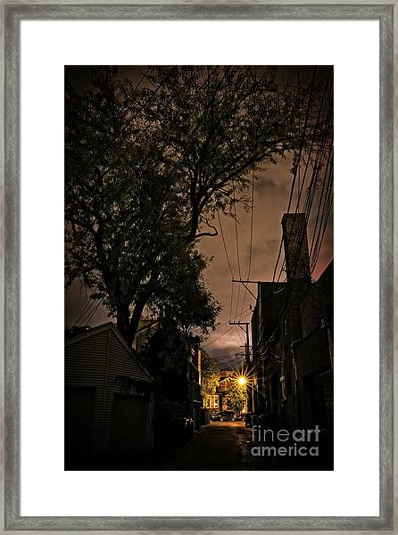 Chicago Alley At Night Framed Print