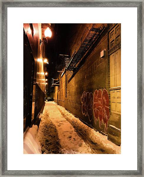 Chicago Alleyway At Night Framed Print