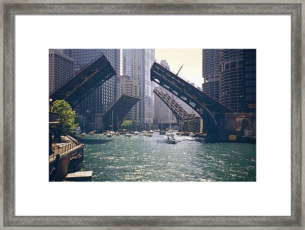 Chicago Bridges Framed Print by By Ken Ilio