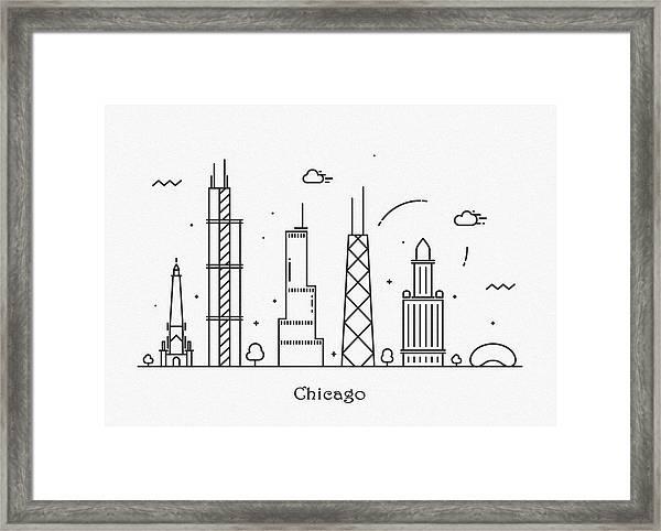 Chicago Cityscape Travel Poster Framed Print
