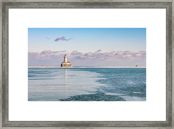 Chicago Harbor Light Landscape Framed Print
