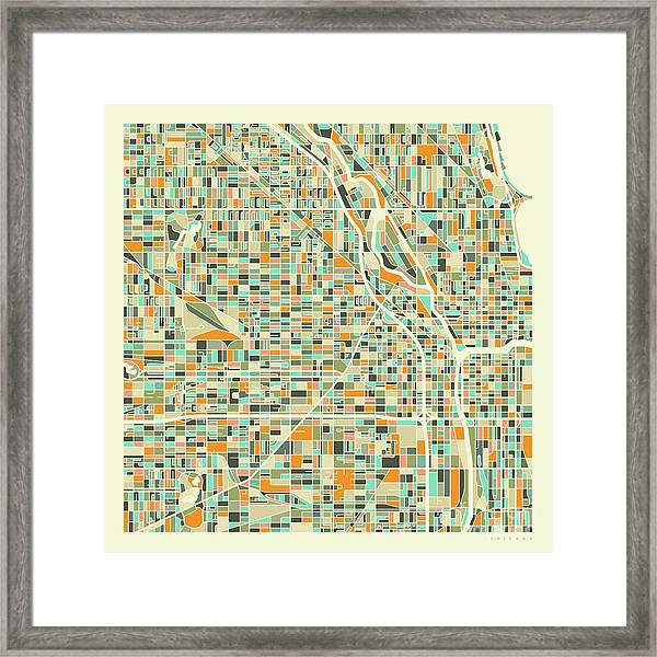 Chicago Map 1 Framed Print