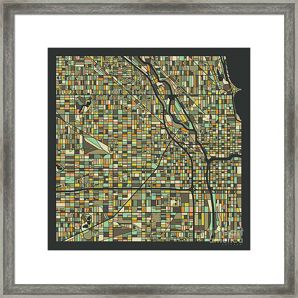 Chicago Map 2 Framed Print by Jazzberry Blue