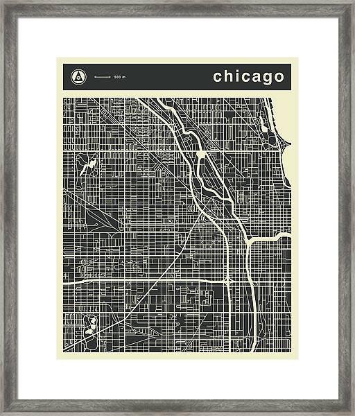 Chicago Map 3 Framed Print