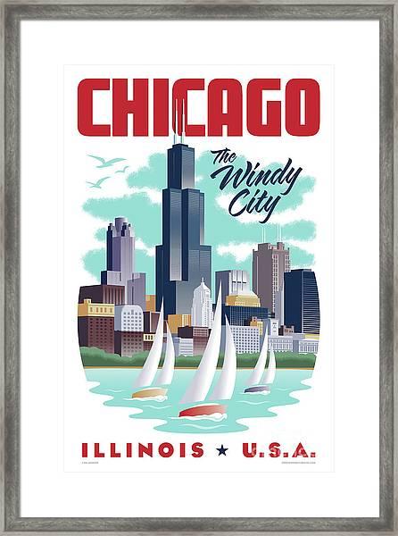 Chicago Poster - Vintage Travel Framed Print