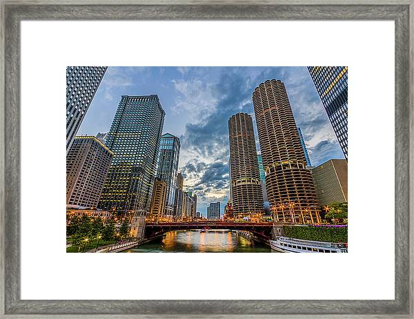 Chicago River Sunset Framed Print by Carl Larson Photography