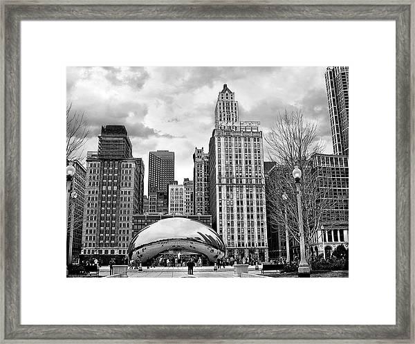Chicago Skyline In Black And White Framed Print