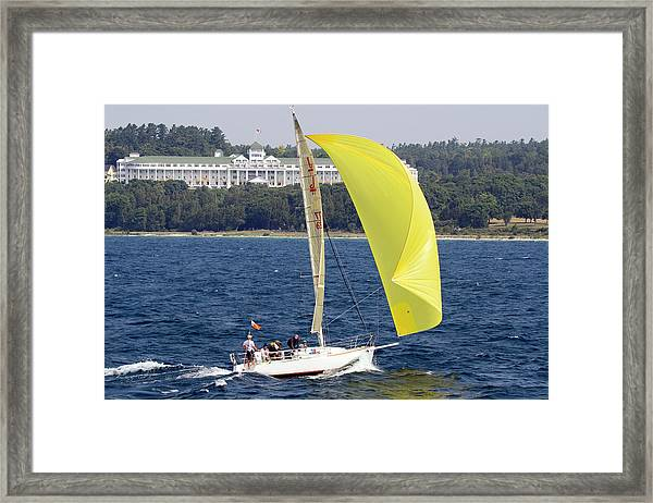 Chicago To Mackinac Yacht Race Sailboat With Grand Hotel Framed Print