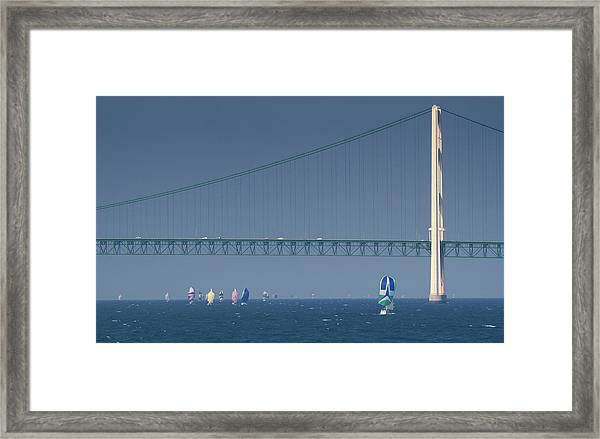 Chicago To Mackinac Yacht Race Sailboats With Mackinac Bridge Framed Print