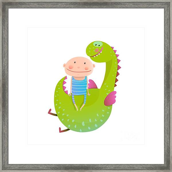 Child And Dragon Friendly Friendship Framed Print