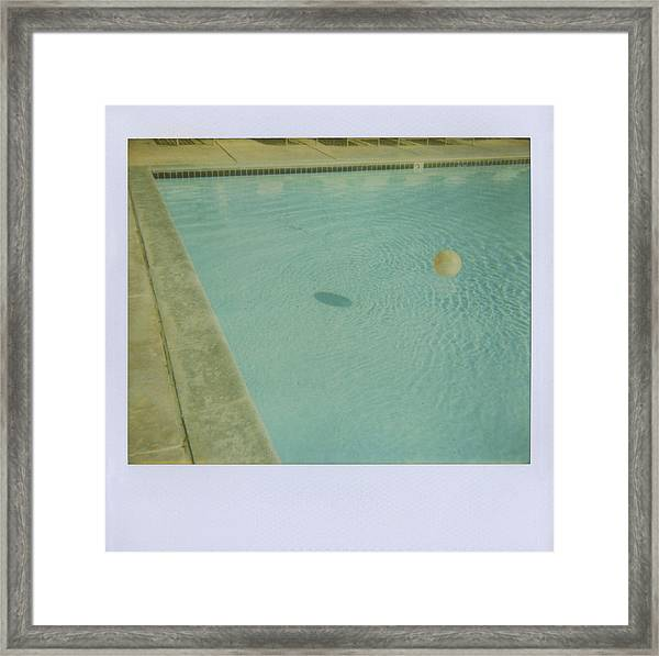 Childs Inflatable Ball Floating In Framed Print