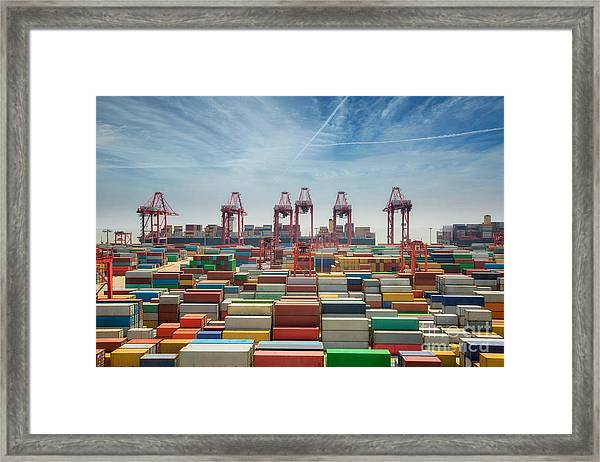 China, Shanghai Harber Container Box Framed Print