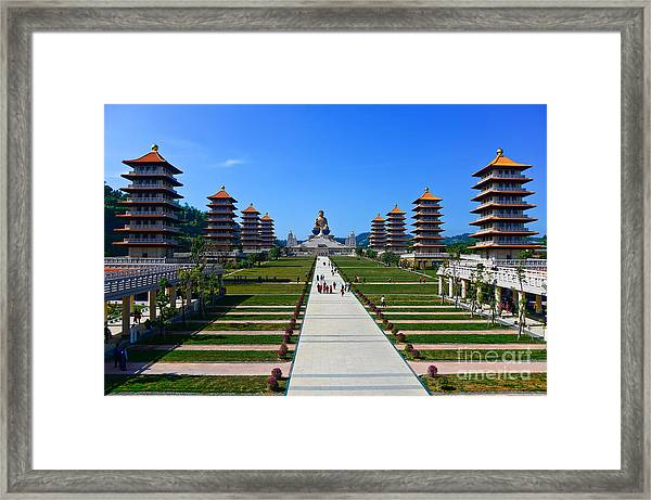 Chinese Temple And Golden Buddha Statue Framed Print