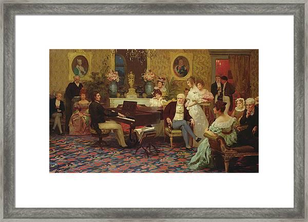 Chopin Playing The Piano In Prince Radziwills Salon Framed Print