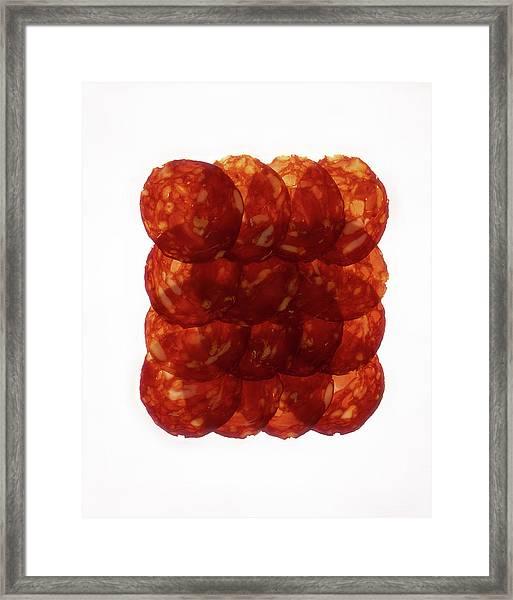 Chorizo Slices, Close Up Framed Print