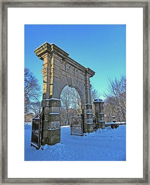 Chorley. Gates In The Snow Framed Print