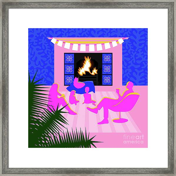 Christmas By The Fireplace Framed Print