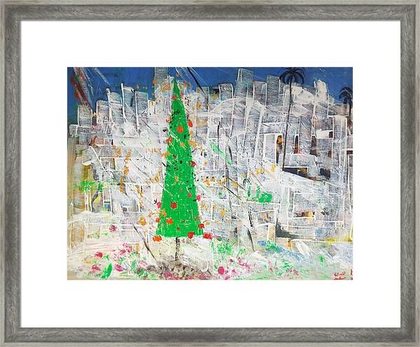 Framed Print featuring the painting Christmas In Town by Hoda Said Ibrahim