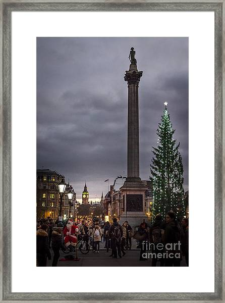 Christmas In Trafalgar Square, London Framed Print
