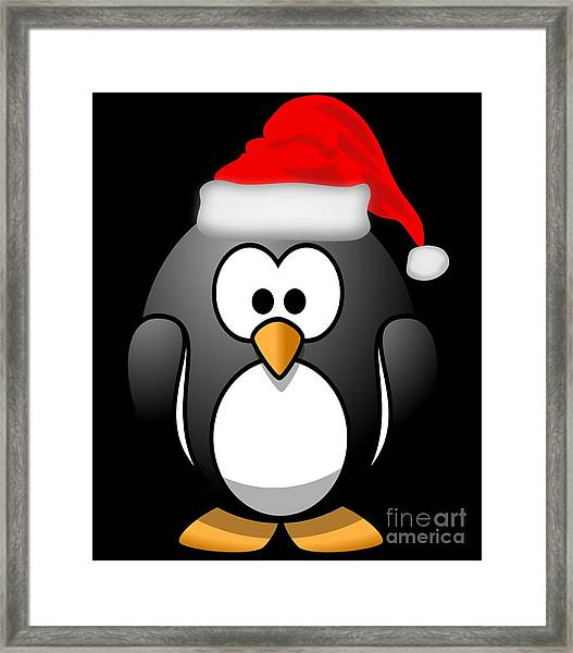 Framed Print featuring the digital art Christmas Santa Penguin by Flippin Sweet Gear