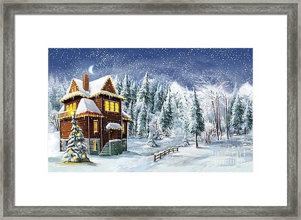 Christmas Winter Happy Scene - Framed Print
