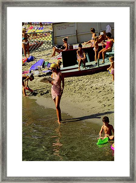 Christy Turlington In Portofino Framed Print by Arthur Elgort
