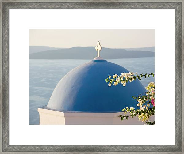 Church And Bougainvillea, Oia Framed Print