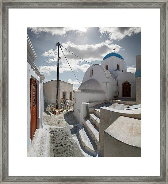 Church And Souvenir Stand In Santorini Framed Print by Ed Freeman