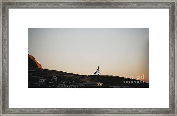Church On Top Of A Hill And Under A Mountain, With The Moon In The Background. Framed Print