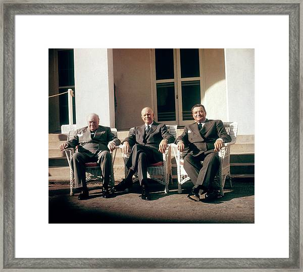 Churchill, Eisenhower And Laniel At The Framed Print