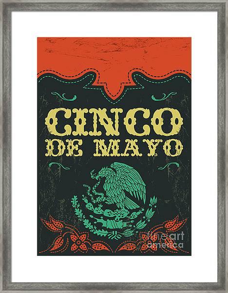 Cinco De Mayo - Mexican Holiday Vintage Framed Print