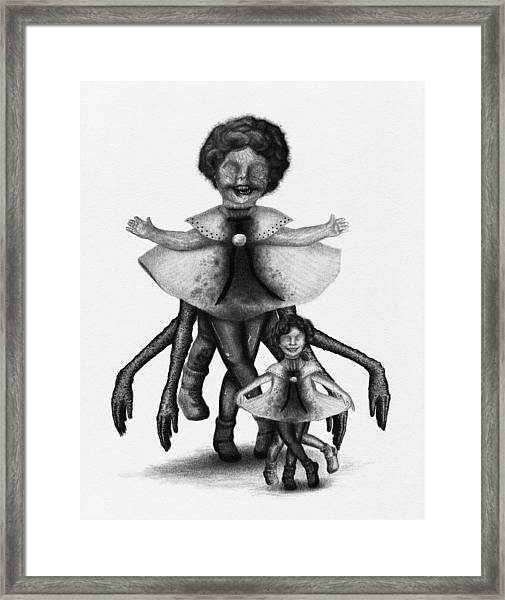 Cindy And Her Monstrous Doll - Artwork Framed Print