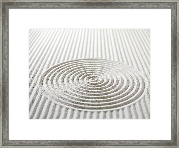 Circles And Lines In Sand Framed Print