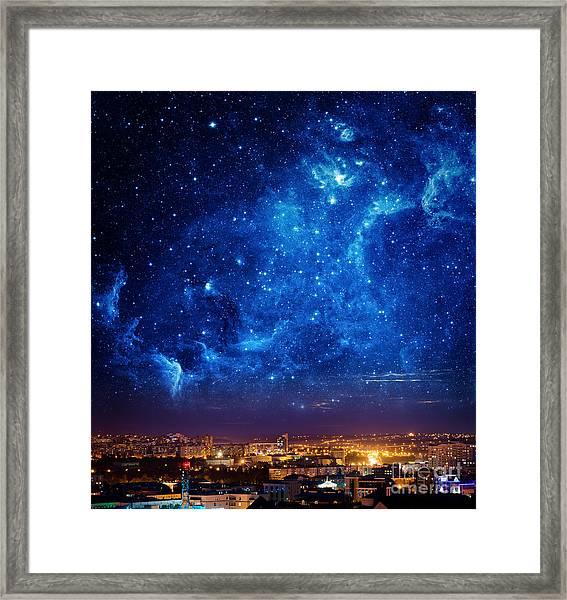 City Landscape At Nigh With Sky Filled Framed Print