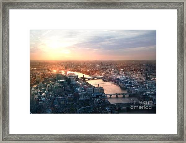 City Of London Panorama In Sunset Framed Print