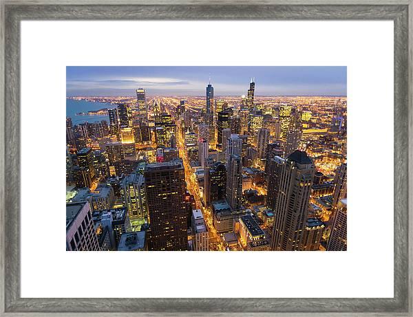 City Skyline At Dusk Framed Print
