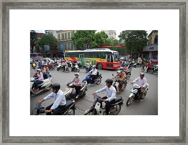 City Traffic At Rush Hour, Hanoi Framed Print by Grant Faint