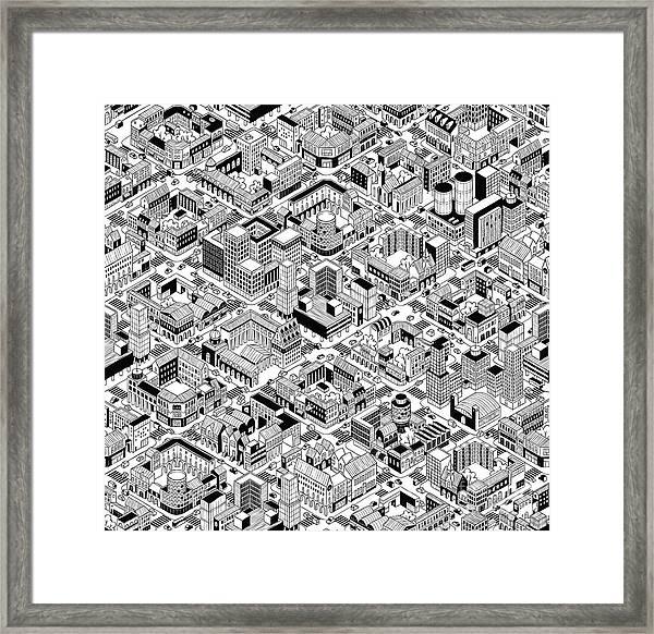 City Urban Blocks Seamless Pattern Framed Print by Vook