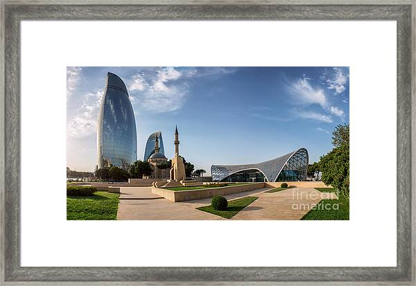 City View Of The Capital Of Azerbaijan Framed Print