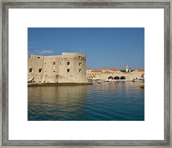 City Walls And Old Harbor, Dubrovnik Framed Print
