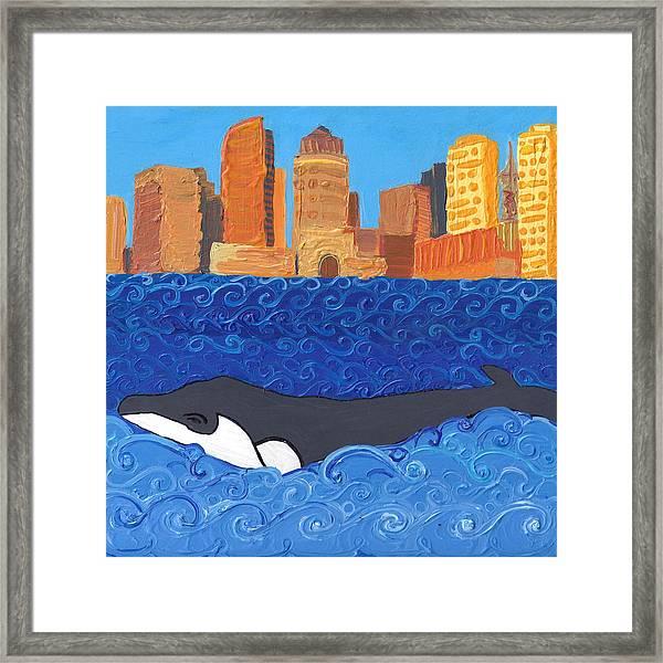 City Whale Framed Print