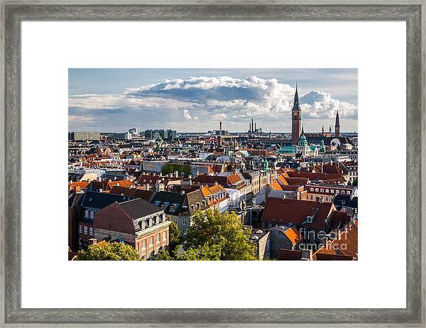 Cityscape Of Copenhagen From The Round Framed Print