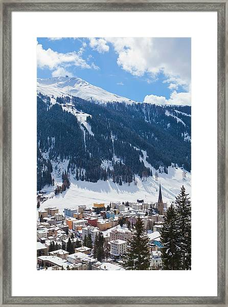 Cityscape Of Davos, Grisons, Switzerland Framed Print